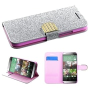 Insten® MyJacket Wallet For HTC-One M8, Silver Glittering