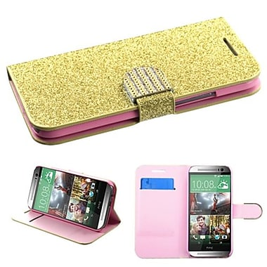 Insten® MyJacket Wallet For HTC-One M8, Gold Glittering