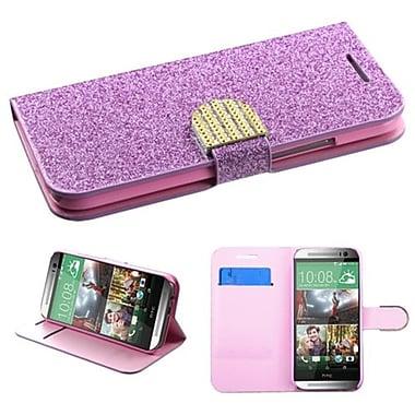 Insten® MyJacket Wallet For HTC-One M8, Purple Glittering