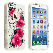 "Insten® TUFF Hybrid Phone Protector Cover F/4.7"" iPhone 6, Morning Petunias/Solid White"