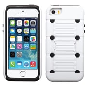 Insten® Protector Cover W/Advanced Armor Stand F/iPhone 5/5S, White/Black Raised Dots Cutout