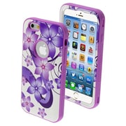 Insten® VERGE Hybrid Protector Cover For 4.7 iPhone 6, Purple Hibiscus Romance/Electric Purple