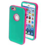 "Insten® VERGE Hybrid Rubberized Protector Cover W/Stand F/4.7"" iPhone 6, Teal Green/Lightning Pink"