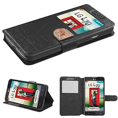 Insten® Book-Style MyJacket Wallet For LG MS323/VS450PP, Black Embossed