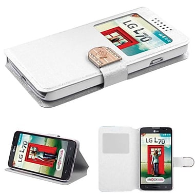 Insten® Book-Style MyJacket Wallet For LG MS323/VS450PP, White Embossed