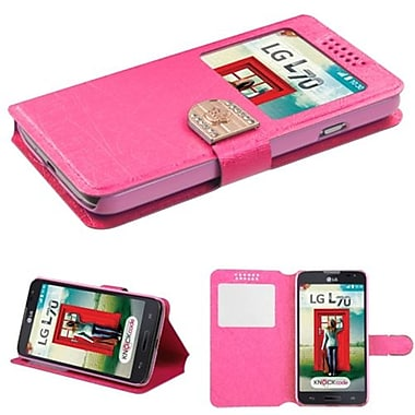 Insten® Book-Style MyJacket Wallet For LG MS323/VS450PP, Hot-Pink Embossed