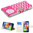 Insten® MyJacket Wallet With Diamante Belt For Samsung Galaxy S5, Shell/Pink