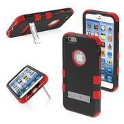Insten® TUFF Hybrid Phone Protector Cover W/Stand For 4.7 iPhone 6, Natural Black/Red