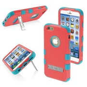 "Insten® TUFF Hybrid Phone Protector Cover W/Stand F/4.7"" iPhone 6, Natural Baby Red/Tropical Teal"