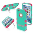 """Insten® TUFF Hybrid Phone Protector Cover W/Stand F/4.7"""" iPhone 6, Natural Teal Green/Electric Pink"""