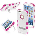 Insten® TUFF Hybrid Phone Protector Cover W/Stand For 4.7in. iPhone 6, Natural Cream White/Hot-Pink