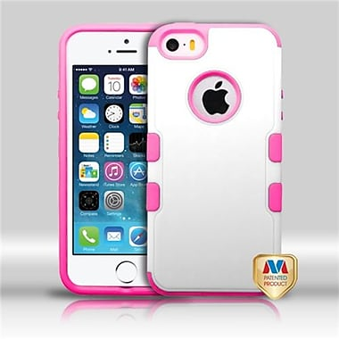 Insten® TUFF Merge Hybrid Protector Cover F/iPhone 5/5S, Natural Cream White/Hot-Pink