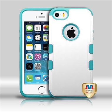Insten® TUFF Merge Hybrid Protector Cover F/iPhone 5/5S, Natural Cream White/Tropical Teal
