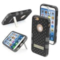 Insten® TUFF Hybrid Phone Protector Cover W/Diamonds For 4.7in. iPhone 6, Natural Black/Iron Gray