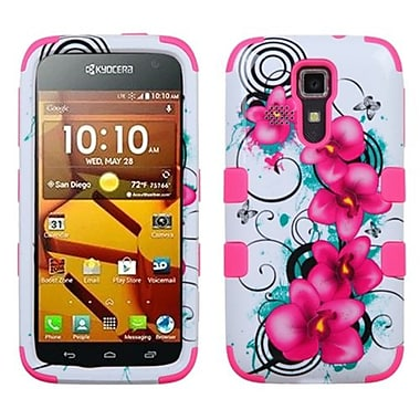 Insten® TUFF Hybrid Phone Protector Cover For Kyocera C6730/C6530, Electric Pink/Morning Petunias