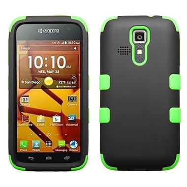 Insten® Rubberized TUFF Hybrid Phone Protector Cover For Kyocera C6730/C6530, Black/Electric Green