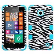 Insten® TUFF Hybrid Phone Protector Cover For Nokia Lumia 630/635, Zebra Skin/Tropical Teal