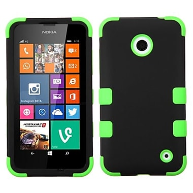 Insten® Rubberized TUFF Hybrid Phone Protector Cover For Nokia Lumia 630/635, Black/Electric Green