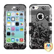 Insten® TUFF Hybrid Phone Protector Cover F/iPhone 5C, Black Lace Flowers (2D Silver)/Black