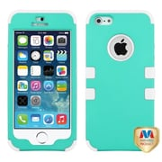 Insten® TUFF Hybrid Rubberized Phone Protector Cover F/iPhone 5/5S, Teal Green/Solid White
