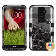 Insten® TUFF Hybrid Phone Protector Cover For LG G2, Black Lace Flowers 2D Silver