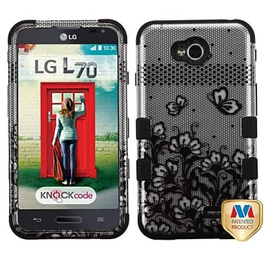 Insten® TUFF Hybrid Phone Protector Cover For LG MS323/VS450PP, Black/2D Silver Lace Flowers