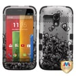 Insten® TUFF Hybrid Protector Case For Motorola G, Black Lace Flowers/2D Silver
