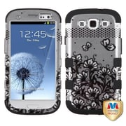 Insten® Hybrid Phone Protector Case For Samsung Galaxy SIII, Black Lace Flowers (2D Silver)/Black