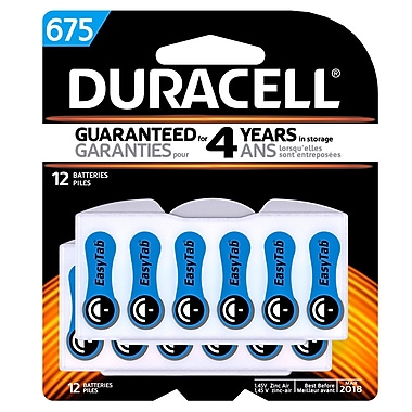 Duracell Hearing Aid Batteries, Size #675, 12/Pack