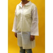 Keystone LC0-WO-NW-LG Single Collar White Disposable Lab Coat, Large