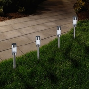 Pure Garden Outdoor Solar Yard Pathway Lights,  Set of 6, Silver