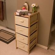 Lavish Home Wood and Fabric Bin Storage Center, 4 Drawers