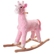Happy Trails Wood Plush Rocking Penny Giraffe Ride On, Pink