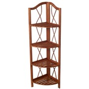 Lavish Home 4-Tier Wood Folding Corner Display Shelf, Brown