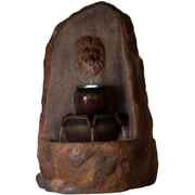 Pure Garden Resin Outdoor Rock Fountain with Pump, Brown