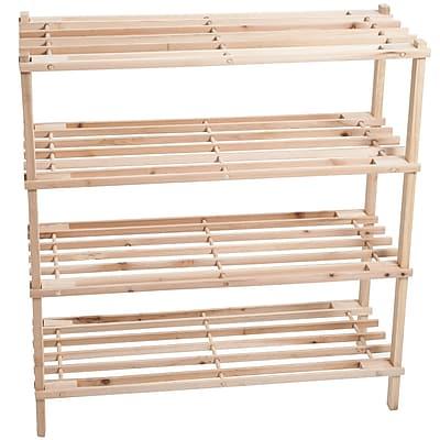 Lavish Home Wooden 4 shelf Shoe Rack Brown