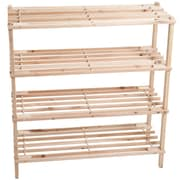 Lavish Home Wooden 4-shelf Shoe Rack, Brown