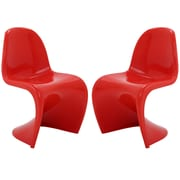 Modway Slither EEI-1254 Set of 2 Plastic Dining Chairs, Red
