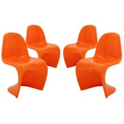 Modway Slither EEI-1255 Set of 4 Plastic Dining Chairs, Orange