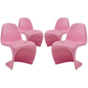 Modway Slither EEI-1255 Set of 4 Plastic Dining Chairs, Pink