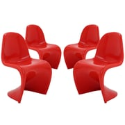 Modway Slither EEI-1255 Set of 4 Plastic Dining Chairs, Red