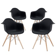 Modway Pyramid EEI-1257-BLK Set of 4 Wood Dining Chairs, Black