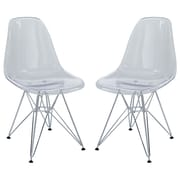 Modway Paris EEI-1261-CLR Set of 2 Plastic Dining Chairs, Clear