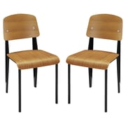 Modway Cabin EEI-1262 Set of 2 Plywood/Steel Dining Chairs, Walnut