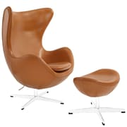 Modway Glove EEI-1278-TER Leather/Aluminum Lounge Chair and Ottoman, Terracotta