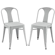 Modway Reception EEI-1301 Set of 2 Metal Dining Chairs, Gray