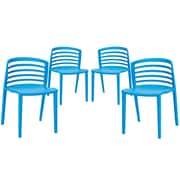 Modway Curvy EEI-1315 Set of 4 Plastic Dining Chairs, Blue