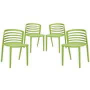 Modway Curvy EEI-1315 Set of 4 Plastic Dining Chairs, Green