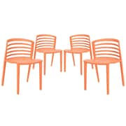 Modway Curvy EEI-1315 Set of 4 Plastic Dining Chairs, Orange