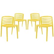 Modway Curvy EEI-1315 Set of 4 Plastic Dining Chairs, Yellow